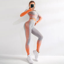 Women Yoga Set Women Long Sleeve Crop Tops And High Waisted Tummy Control Sport Leggings Gym Clothing Ombre Seamless Sport Suit