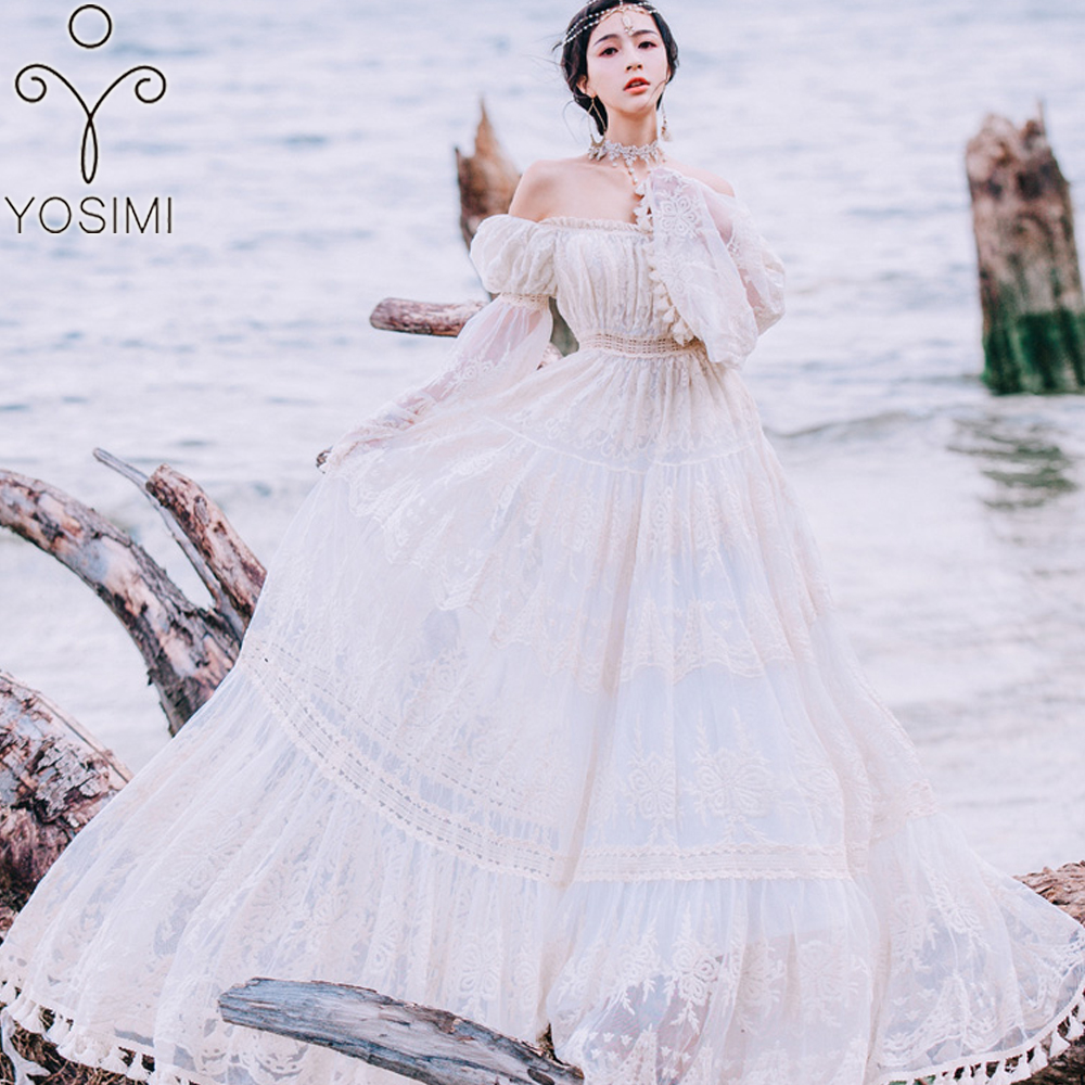 YOSIMI 2018 Summer Lace Long Women Dress Evening Party Maxi Vintage Lady White Off The Shoulder Floor-length Tassel Dress Tunic