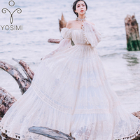 YOSIMI 2019 Summer Lace Long Women Dress Evening Party Maxi Vintage Lady White Off The Shoulder Floor length Tassel Dress Tunic