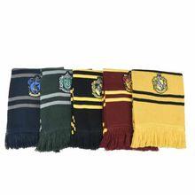 Зимний теплый шарф, слисерин, хуфлепуф, равенклав, значок полосатые шарфы карнавальный вечерние шарф для косплея подарки для детей и взросл...