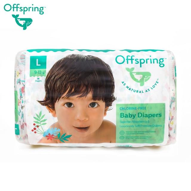 Подгузники Offspring, L 9-13 кг. 36 шт. расцветка Листочки