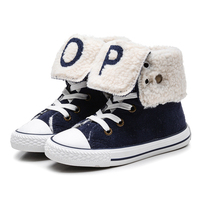 2019 New Kids Velvet Boots High Top Thickening Cotton padded Children's Snow Boots Turn down Winter Warm Boots for Boys Girls