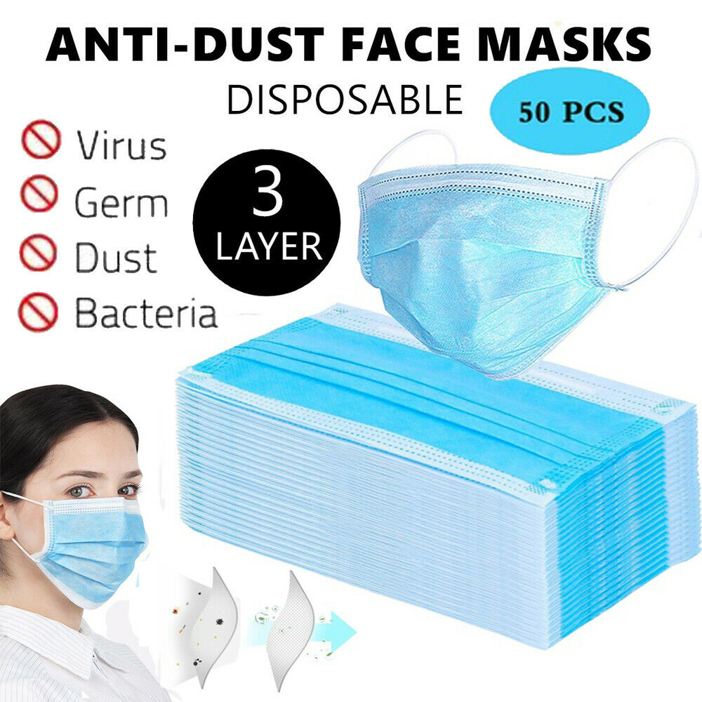 50 Pcs 3 Layer Protective Face Mouth Masks Anti  PM2.5 Influenza Bacterial Facial Dust-Proof Safety Mouth Masks