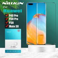 Nillkin para huawei companheiro 30 p40 pro p30 protetor de tela de vidro temperado 3d cobertura completa película de vidro segurança para huawei p40 p30 pro