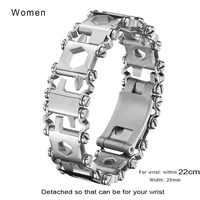 Femmes en plein air bande de roulement vis pilote Bracelet de survie Bracelet de montre multifonctionnel Bracelet tournevis Kit d'urgence Multi 22cm
