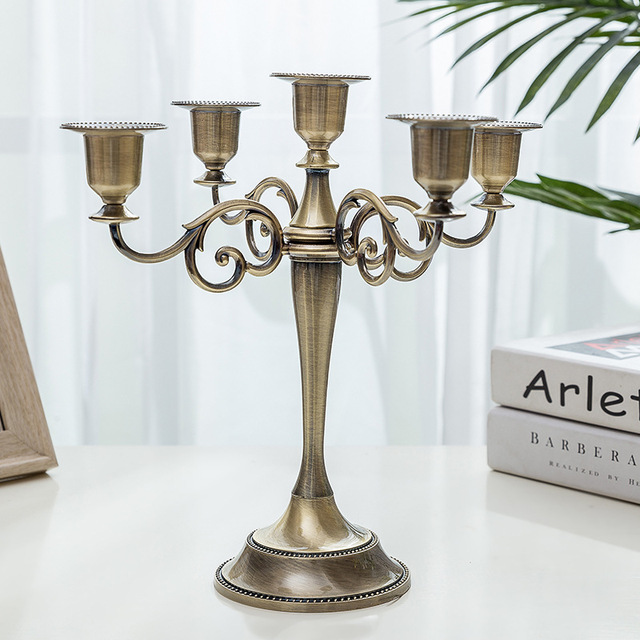 1PC argent/or/Bronze 3 bras métal pilier bougeoirs chandelier mariage décoration support fait main décoration de la maison Art Gife