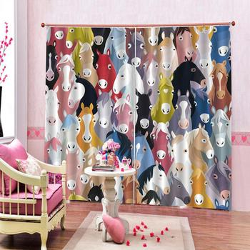 Custom curtains Colored animal head horse print Customized 3D Blackout Curtains Living Room Bedroom Hotel Window