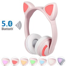 JINSERTA Kids Cat Ear Headphones Bluetooth 5.0 Glowing Stereo Headset Noise Cancelling Music Earphone for Phone PC Birthday Gift