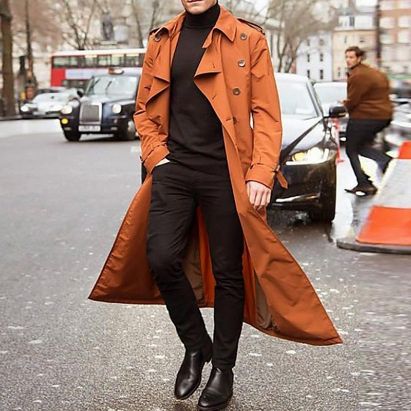 Hde1b21f2b37e46ea93a51acc12730dc1b gentleman Long Slim Men Trench Coat Double-breasted Lapel Windbreaker Male Fashion Autumn Winter Coat Long Design Trench Male