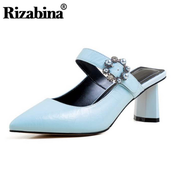 Rizabina Women Summer Sandals Shoes High-Quality Pointed Toe Thick Heels Shoes Women Real Leather Buckle Footwear Size 34-39