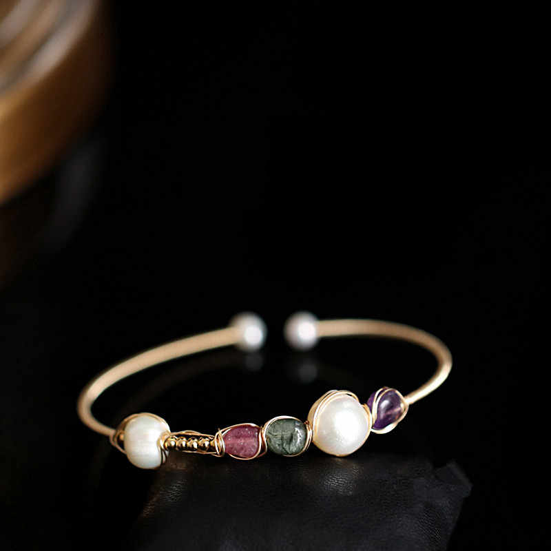 RENESSA Mixed Color Baroque Pearl Bangle  Designer Jewelry Handmade Gemstone Bracelet For Women