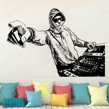 DJ wand aufkleber vinyl Disco wand kunst wandbild Musik wand dekor DJ Studio home musik decorationHJ620(China)