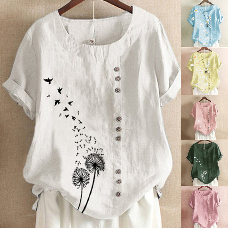 Brand Blouses Woman Clothing Summer Office Lady Big Size Tunic Tops 2020 Casual Short Sleeve Print Shirt Blouse Blusa Feminina(China)