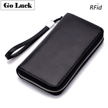 GO-LUCK Brand Genuine Leather RFID Wristlet Business Clutches Wallet Men Women Zipper Cardholder Purse Cell Phone Pouch Case