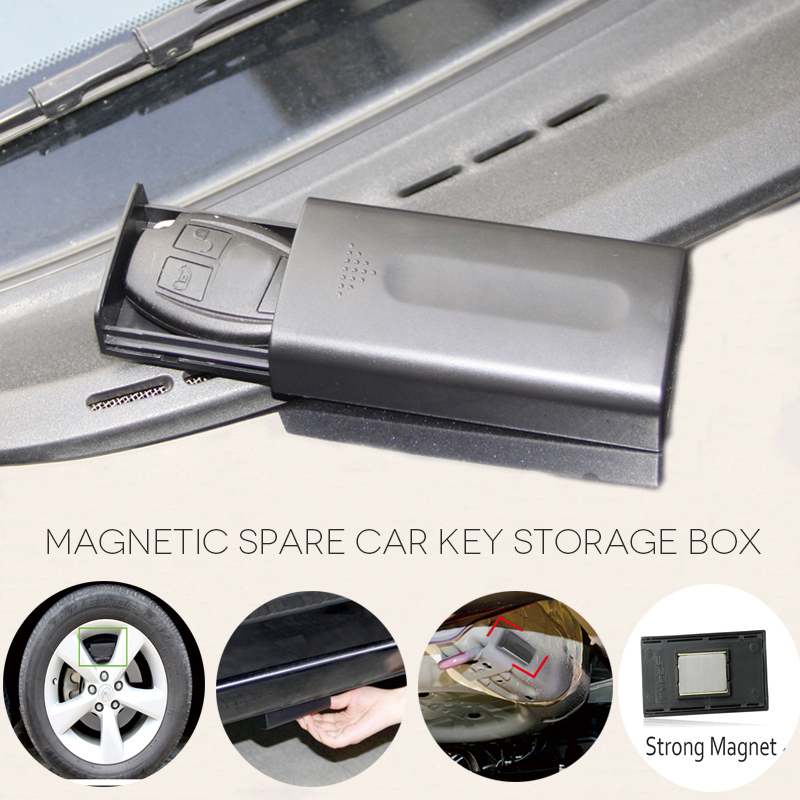 New Black Key Safe Box Magnetic Car Key Holder Box Outdoor Stash With Magnet For Home Office Car Truck Caravan Secret Box