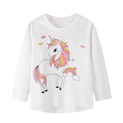 VIDMID baby Girls cotton long sleeve unicorn t-shirts baby kids cartoon casual clothes 2-7 years children t-shirts clothing W01 4
