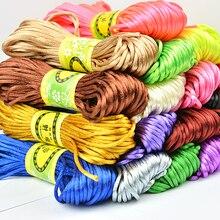 2MM Mix Color Nylon Black Satin Chinese Knotting Silky Macrame Cord Braided Macrame Silk Satin Cord Rope DIY String Thread