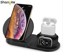 Беспроводное зарядное устройство, 3 в 1 беспроводная зарядная подставка для Apple Watch, зарядная станция для Airpods, быстрая Беспроводная зарядная ...