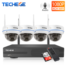 "Techege 4CH 1080P H.265 אלחוטי NVR ערכת 2.0MP אודיו שיא התראת דוא""ל Vandalproof IP מצלמה אבטחת וידאו מעקב מערכת"