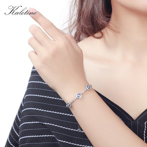 Image 4 - New Fashion High Quality Genuine 925 Sterling Silver Good Luck Luxury Round Blue Eyes Clear Cubic Zircon Crystal Tennis Bracelet