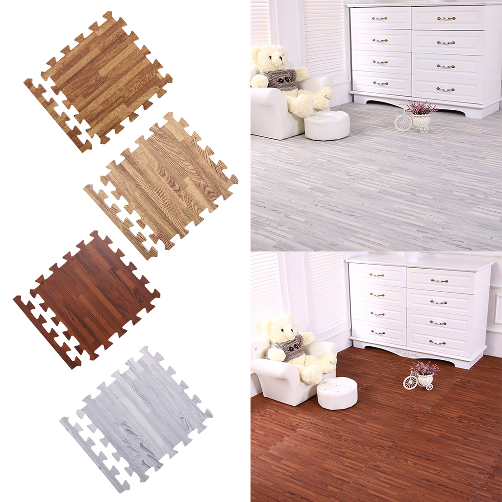 9Pieces Wood Grain Floor Mat Foam Interlocking Flooring Tiles with Borders – for Home Office Playroom Basement image