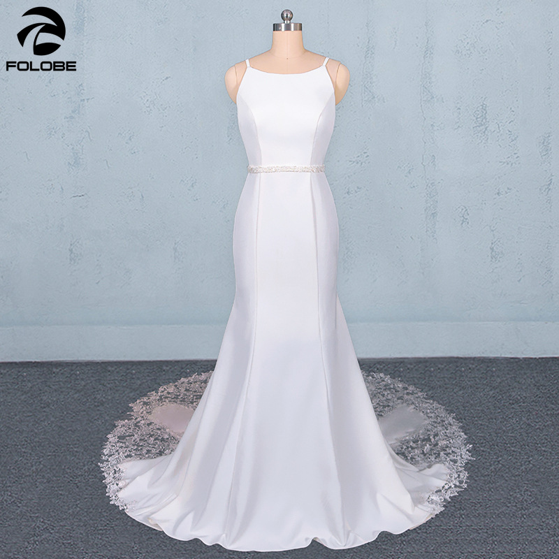 Romantic Backless Vestido De Noiva 2020 Sexy Spaghetti Strap Lace Satin Mermaid Boho Beach Wedding Dress Robe De Mariage