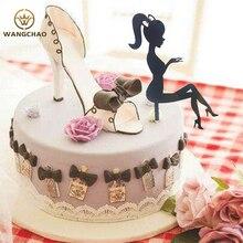 Черный акриловый торт Топпер силуэт девушка принцесса свадьба невеста и жених украшения десерт кекс Топпер вечерние принадлежности