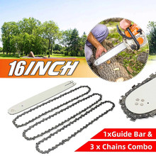 16Inch Alloy Steel Chain Saw Guide Bar With 3pcs Chainsaws Semi Chisel Saw Chain Chainsaw Chain For STIHL 009 012 021 E180 MS180