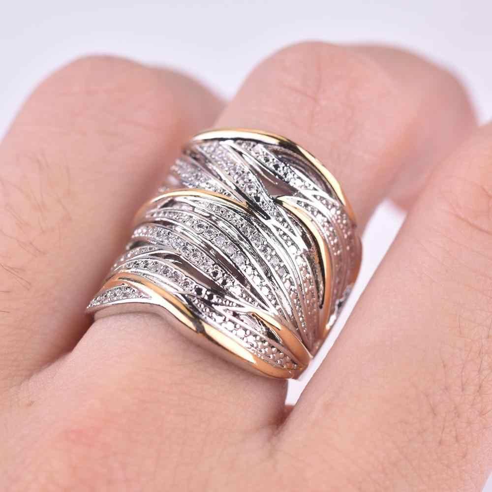Scintillante Dell'annata delle Donne Anello di Dichiarazione di Lusso Due Tono di Crossover Sposa di Fidanzamento Wedding Band Anelli