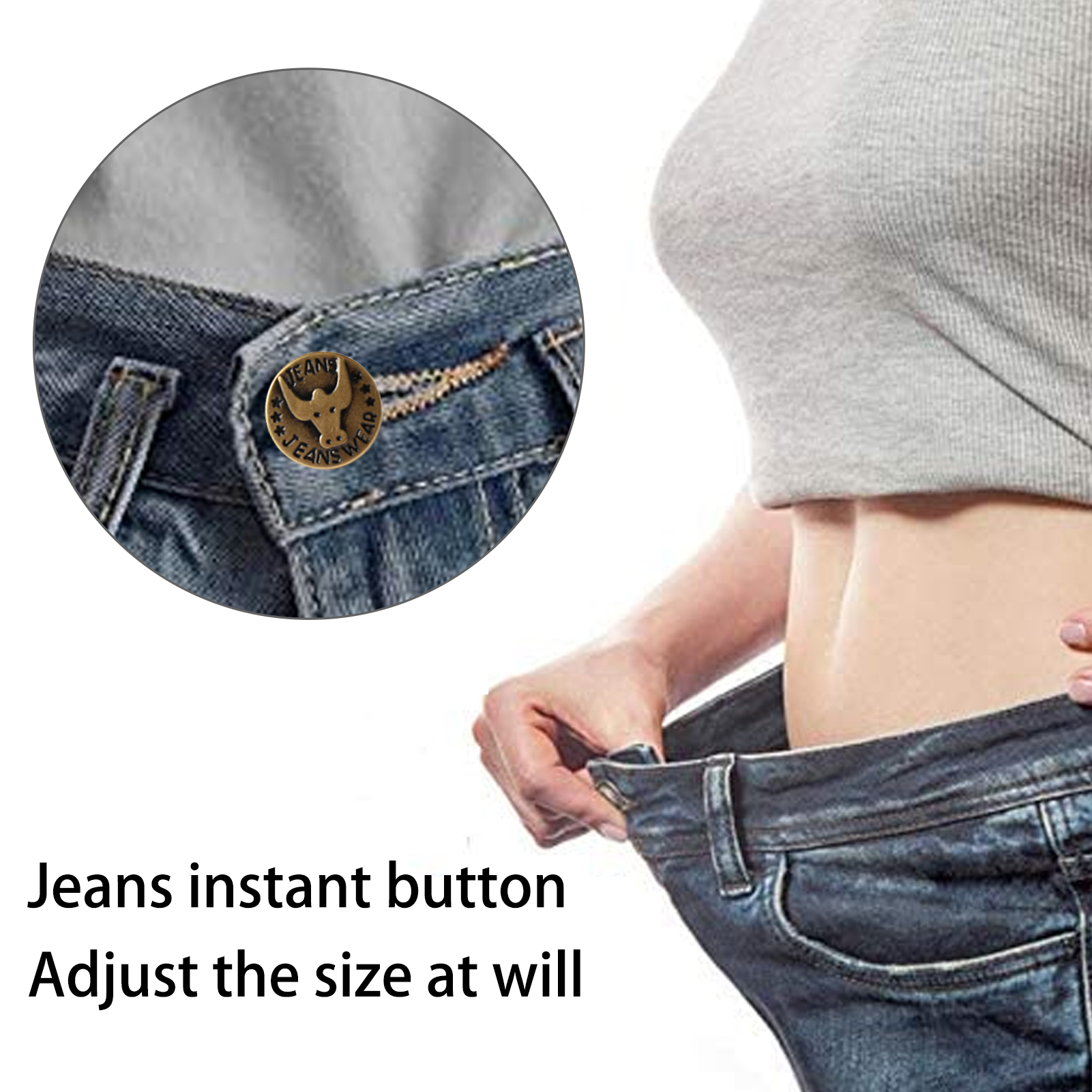 Instant Button Kit Metal Fastener Snap Jeans Pants Perfect Fit Adjustable Pin Self Increase Reduce Waist