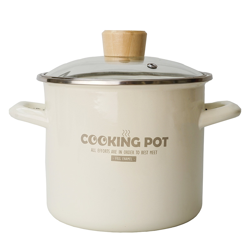 Enamel 18cm 3L Heightening and Thickening Soup Pot Can Decoct Medicine and Sterilize Bottle Cookware Set Hotpot Cooker image