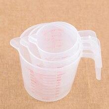 Высокое качество Пластик мерный стаканчик 250/500/1000 мл ясным масштабом показать прозрачная кружка+ ручка для носик; 3 размера; измерительный прибор