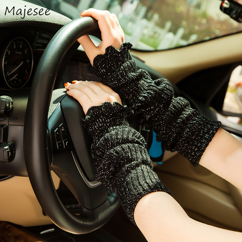 Arm Warmers Women Knitted  Cover Solid Warm High Quality Comfortable All-match Womens Casual Daily Females Korean Style New