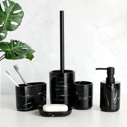 Five-piece Set Nordic Marble Texture Resin Bathroom Accessory Set Toothbrush Holder Toilet Brush Soap Dispenser Pump Bottle