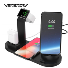 10W Qi Wireless Charger 4 in 1 Dock Station For Iphone Airpods Micro USB Type C Stand Fast Charging 3.0 For Apple Watch Charger недорого
