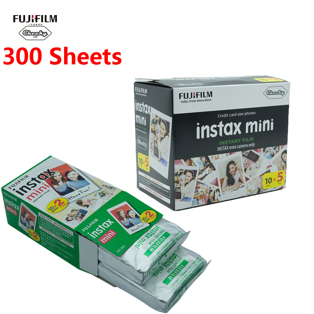 10-300 Sheets Fujifilm Instax Mini Film White edge 10 20 40 60 80 100 200 300 Sheets For FUJI Instant instax mini 8 9 camera
