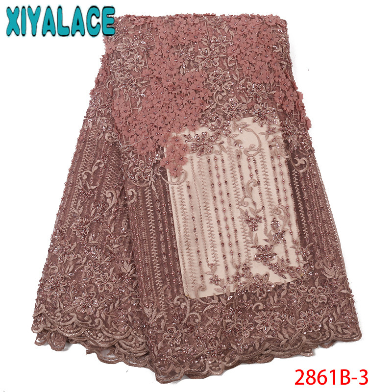 Latest African Laces 2019,High Quality Beaded Lace Fabric,3D Handmade Beads Tulle Lace For Party Dresses KS2861B-3
