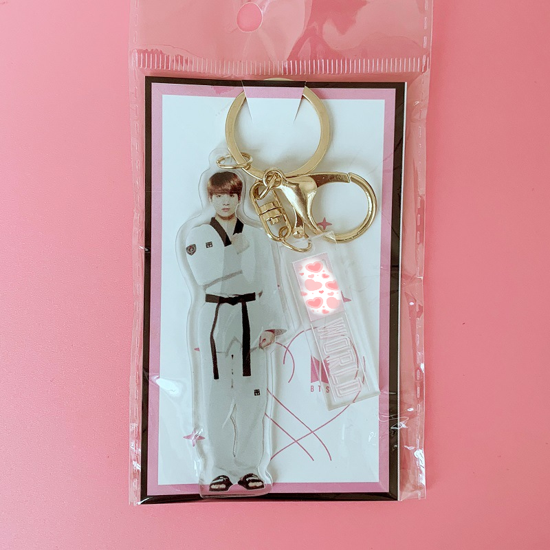 Image 5 - 7 pcs/lot KPOP Jin RM Jimin V suga jungkook jhope  world acrylic keychain keyring pendant toy giftAction & Toy Figures   -
