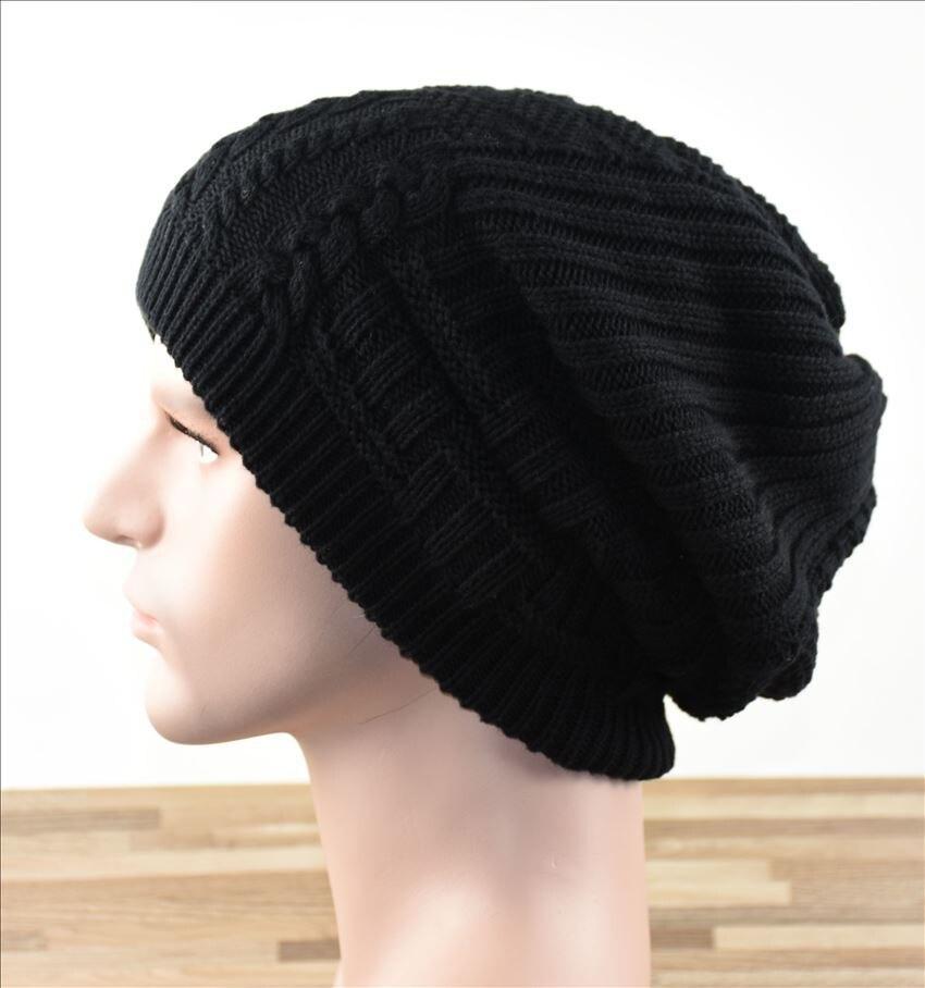 Winter Outdoor Mens Thick Hat Warm Fleece Liner Beanie Hat Knitted Woolen Caps