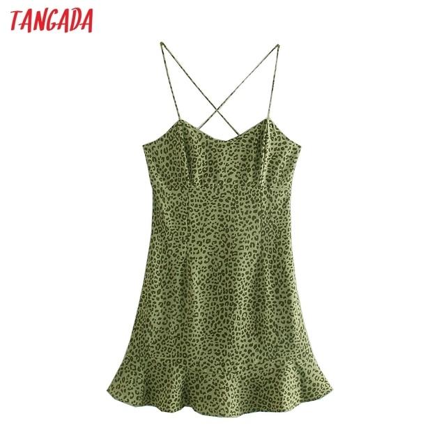 Tangada 2021 Fashion Women Leopard Print Strap Dress Sleeveless Backless Female Party Dress 5Z111 1