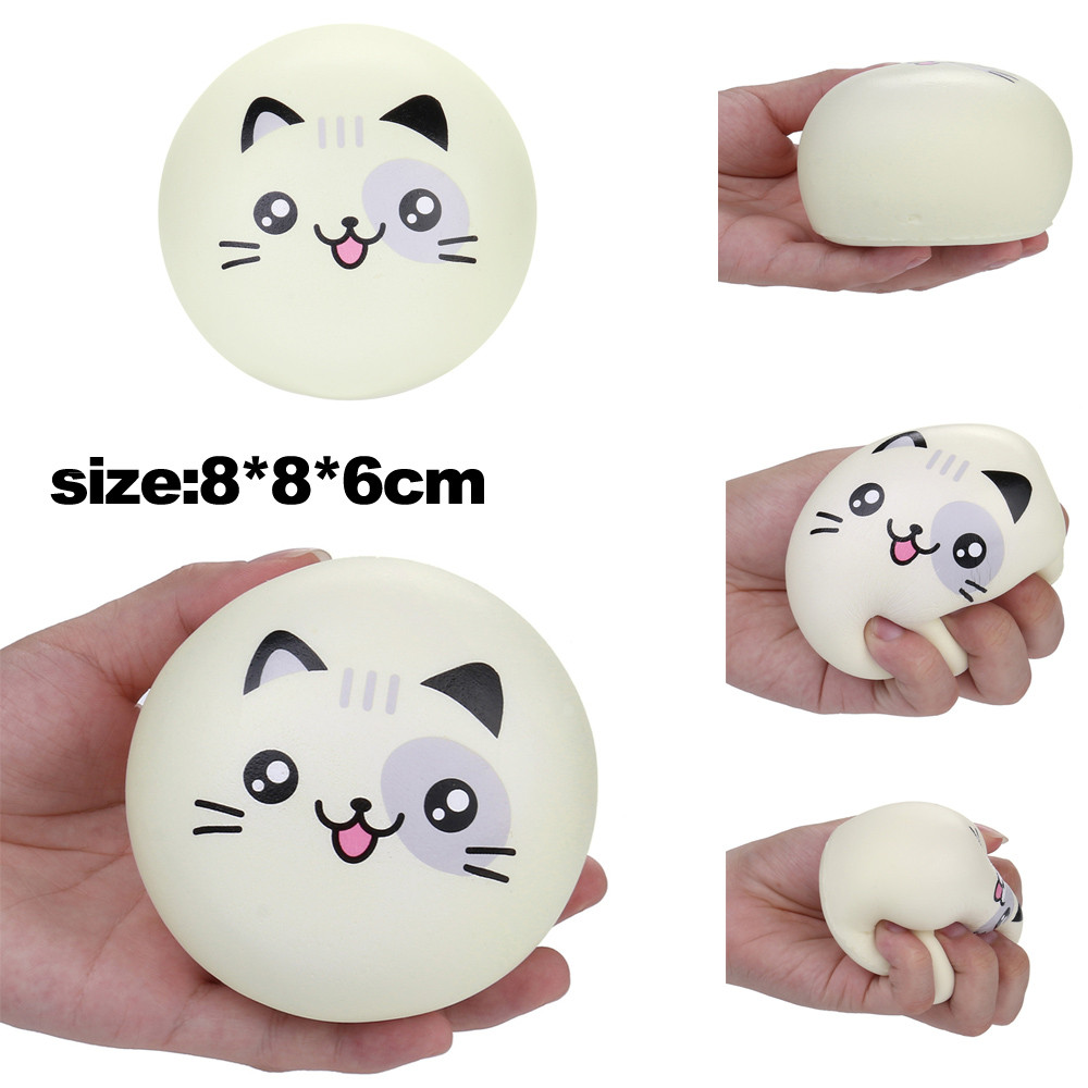 Cartoon Cat Slow Rising Scented Squeeze Toy Anti-stress Ball Squeeze Soft Sticky Stress Relief Funny Collection Cure Gift L1216