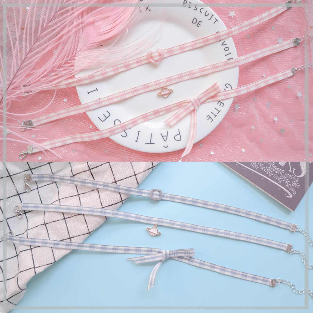 DoreenBeads ファッションピンク/ブルー格子鎖骨のチェーンネックレスちょう結び惑星ペンダントパーティーチョーカーネックレスジュエリー
