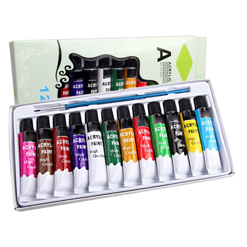 12 Colors Acrylic Paints Brush 12ml Tubes Drawing Painting Pigment Hand-painted QX2B