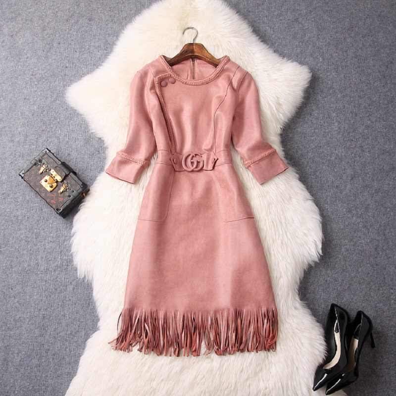 Office Lady empire jurk lente 2019 nieuwe Superieure kwaliteit Vrouwen Suede Kwasten Party Dress xl Vroege herfst elegante Effen jurken