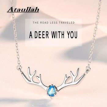 Ataulah Plata de Ley 925 joyería colgante collar ciervos astas collares Cadena de piedras preciosas gargantilla para mujeres fiesta Bijoux NW071