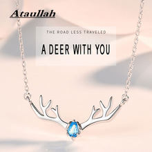 Ataullah Sterling Silver 925 Jewelry Pendant Necklace Deer Antlers Necklaces Gemstone Chain Choker for Women Party Bijoux NW071(China)