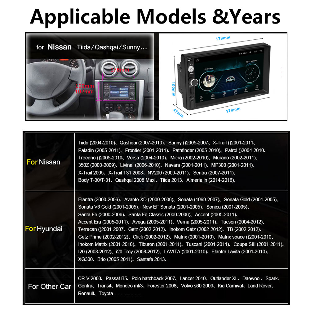 Podofo 2 din Android 8.1 Universal 7 2din Car Radio GPS Multimedia Player MP5 autoradio For Nissan TOYOTA Kia Honda VW Hyundai (2)