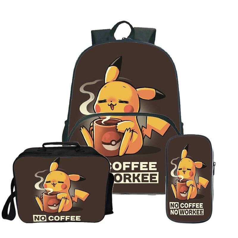 Sac à dos imprimé Pokemon sac de voyage pour adolescentes sacs à dos d'école pour filles et garçons avec trousse mignonne sac à dos antivol Kawaii 3 pièces/ensembles