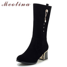 Meotina Winter Mid Calf Boots Women Boots Zipper Thick High Heels Boots Crystal Round Toe Shoes Female Fall Black Big Size 33-43 недорого