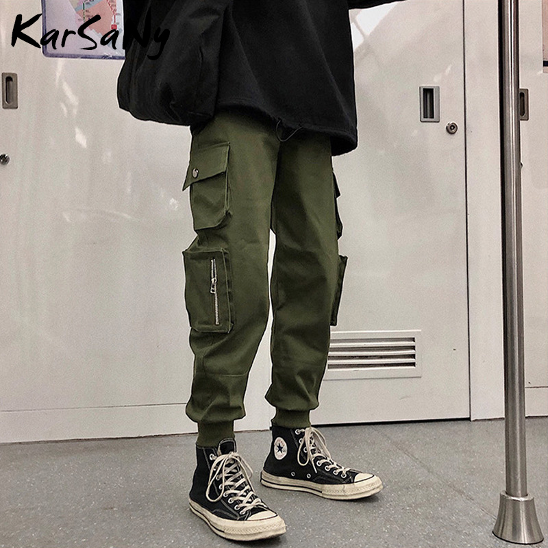 KarSaNy Woman Cargo Pants With Pockets Loose Casual Straight Streetwear Women Trousers High Waisted Boyfriend Pant